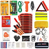 AUTODECO Car Roadside Emergency Kit – Premium, with Jumper Cables, Tow Strap, etc