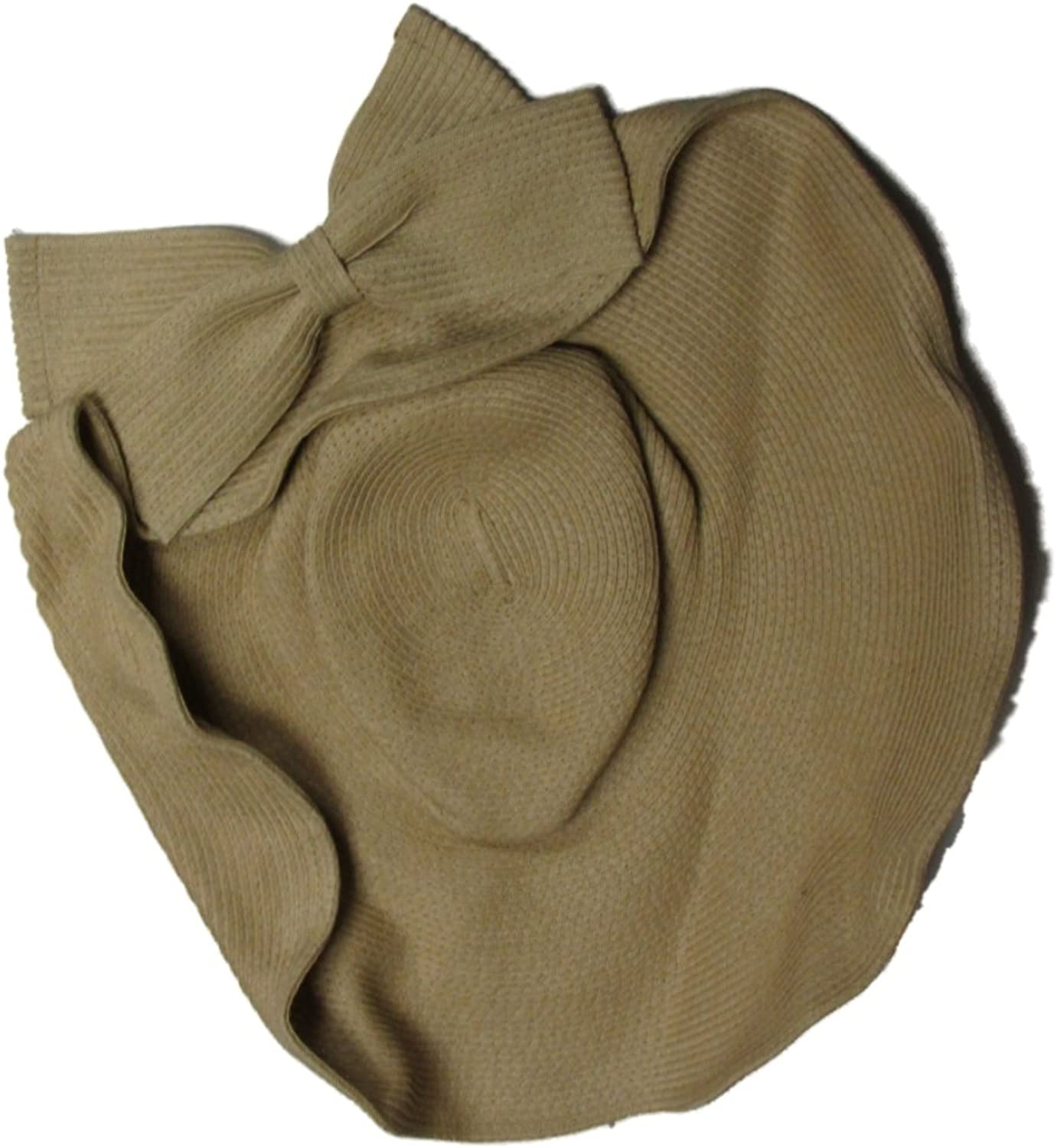David & Young Women's Sun Hat Floppy Bow Natural