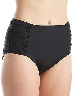 Women's Solid Side Shirred High Waist Bikini Bottom