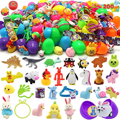 """200 Pcs Prefilled Colorful Easter Eggs w/Toys and Stickers Premium Hinged 2 3/8"""" for Kids Basket Stuffers Fillers, Easter Hunt Game, Toys Filling Treats and Easter Theme Party Favor"""