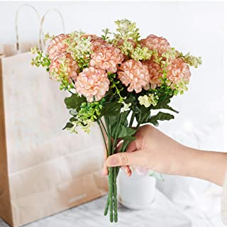 FSALS Hydrangeas Artificial Flowers 4 Bouquets 5 Heads Mini Fake Silk Ball Daisy Flower with Plastic Stem for Indoor Outdo...