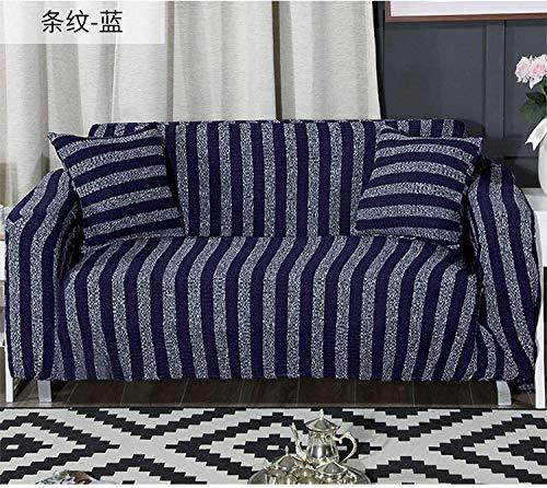 Allenger Elastic Sofa Cover,Gestrickte gestreifte Stretch-Sofabezug, Antifouling-Schutzbezug für Möbel, Rutschfester Kissenbezug mit Vollbezug, waschbares Sofa-Blau_235-300 cm
