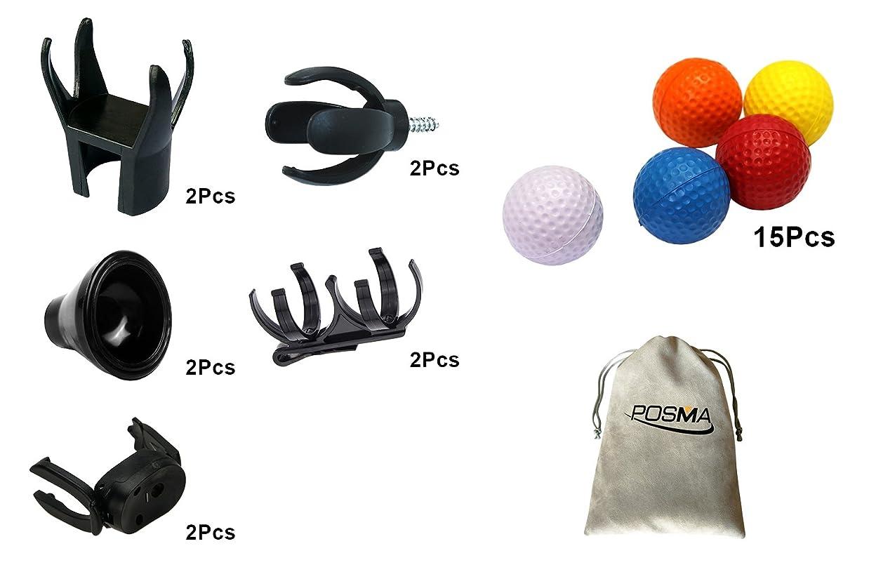 支配的コンペ髄POSMA BRS001A ゴルフボールピックアップツール 8点4種類 練習用カラーボール ボールクリップホルダー POSMA収納用のフランネルバッグ