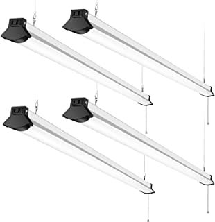 Linkable 50W LED Shop Garage Lights 4FT, 5600LM 5000K, FaithSail 4 Foot Linear Strip Ceiling Light, Plug in with on/Off Pull Chain, 128W Fluorescent Replacement, Flush Mount and Hanging Mount, 4 Pack