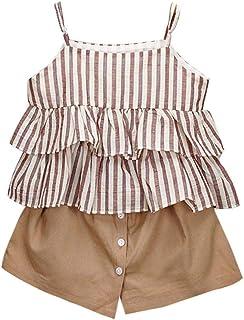 XY-young skirt Falda para niños y niñas, Conjunto de Playera y Pantalones Cortos a Rayas con Volantes