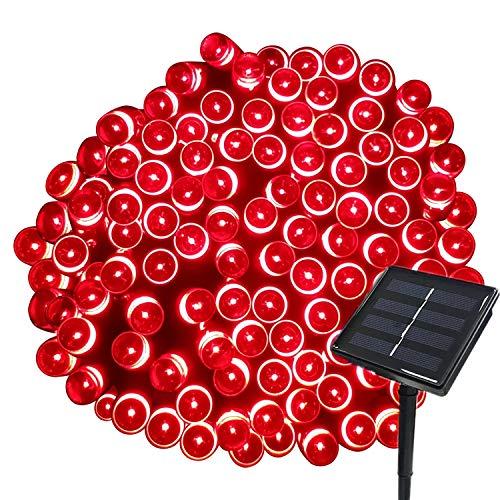 Tuokay 22M 200 LED Luci Giardino Energia Solare Luci da Esterno Luci Stringa Illuminazione per Addobbi Natalizi Catene Luminosa Decorazione Natalizie Albero di Natale Giardino Patio (Rosso)