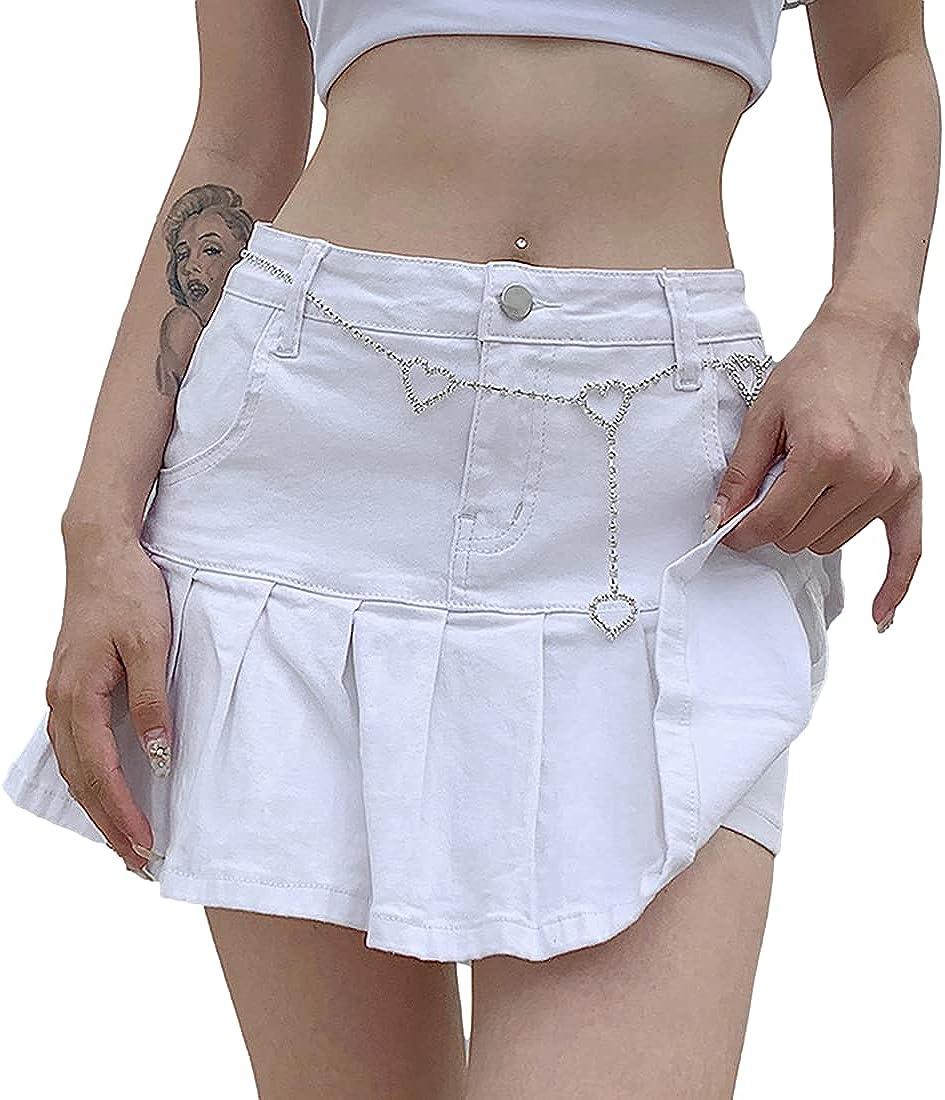 Omoone Women's Mid Rise Flared Denim Skirt Casual Bell Bottom Pleated Jean Skirts