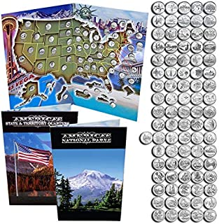 State Quarters 1999- 2009 & National Park Quarters 2010 - 2018 in a Map Book.
