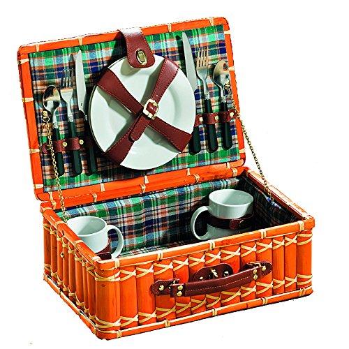 Kobolo Angesagter Picknickkoffer im Karodesign für 2 Personen inkl Inhalt