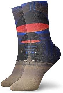 tyui7, Lámparas colgantes negras Iluminación Calcetines de compresión antideslizantes Cosy Athletic 30cm Crew Calcetines para hombres, mujeres, niños