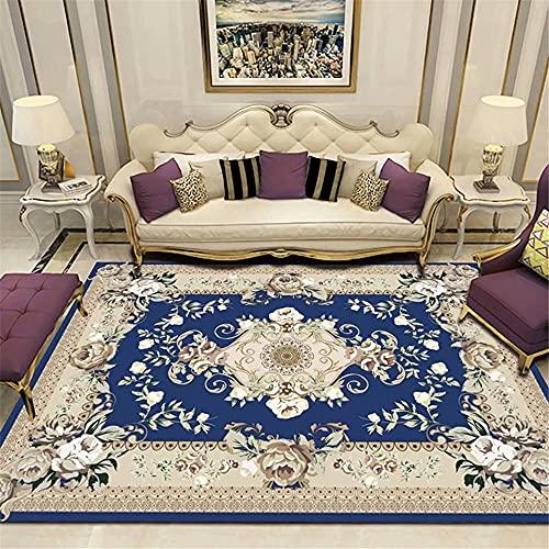 Xiaosua Muebles Sala de Estar Azul Salón Alfombra Azul Floral Vintage patrón...