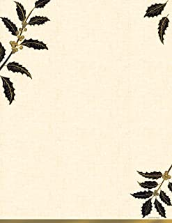 """Great Papers! Golden Metallic Holly Holiday Letterhead, 8.5"""" x 11"""", 40 sheets (2018015)"""
