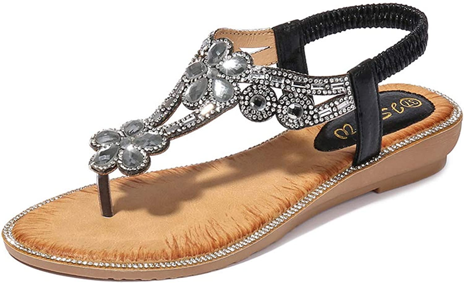 Baviue Women's Outdoor Leather Flowers Beaded Jeweled Thong Sandals