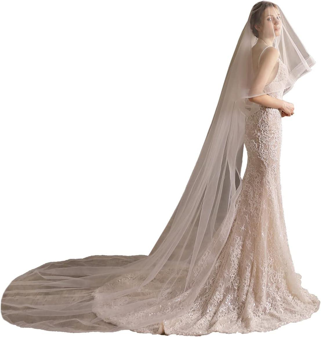 JZJZ Women's Wedding Veils 2 Austin Mall Tier White Bridal Long Lace discount T Train