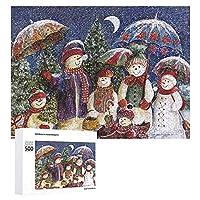"""500ピース木製ジグソーパズル-雪だるま-子供大人のための家族向けインタラクティブゲームパズル、15""""x 20"""""""