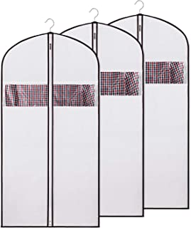 """Zilink Garment Bag Suit Bags for Storage and Travel Dress Suit Cover Protector for Suit, Dress, Coat, Long Dresses, Fabric, White, 24"""" x 54""""-3pcs"""