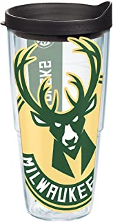 Tervis NBA Milwaukee Bucks Colossal Tumbler with Wrap and Black Lid 24oz, Clear