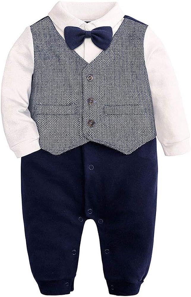 JBEELATE Newborn Baby Boys Gentleman Outfit Formal Suit Pants Set Infant Wedding Long Sleeve Tuxedo Dress Clothes