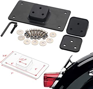 Black Laydown 3-Hole License Plate Mounting Bracket for Harley Softail Dyna XL 1973-Up