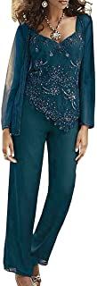 Women's 3 Piece Mother of The Bride Pant Suits Long Sleeve Beaded Wedding Outfits with Jackets