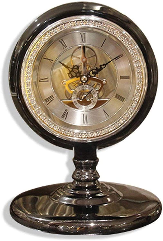デスククロックファミリークロックアンティークローマン置時計、ヨーロッパのサイレントデスク装飾用機械時計リビングルームの寝室に最適オフィス(色:黒)