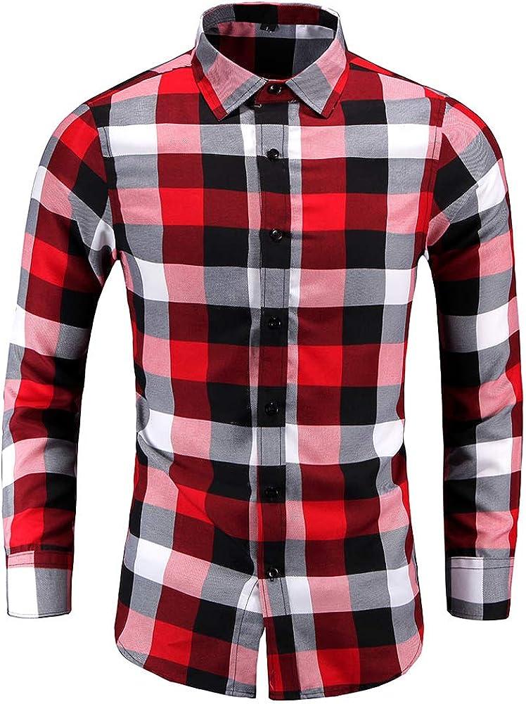 YYNUDA Men's Plaid Shirts Lapel Collor Slim Fit Long Sleeve Button Down Shirt