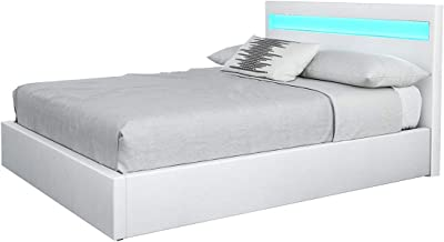 White PU Leather Gas Lift Storage Bed Frame with LED Light Wood Bedroom Furniture Queen