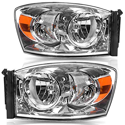 Headlights Assembly Replacement for 2006-2008 Dodge Ram 1500, 2006-2009 Dodge Ram 2500 3500 Headlamps Pickup Truck Clear Housing Amber Reflector Left+Right,2-Yr Warranty