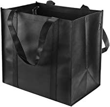 Reusable Grocery Tote Bags (6 Pack, Black) - Hold 44+ lbs - Large & Durable, Heavy Duty Shopping Totes - Grocery Bag with Reinforced Handles, Thick Plastic Support Bottom