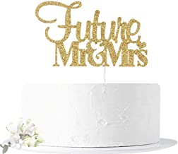 Gold Glitter Future Mr & Mrs Cake Topper, for Wedding/Bridal Shower/Engagement/Bachelor Party Decorations