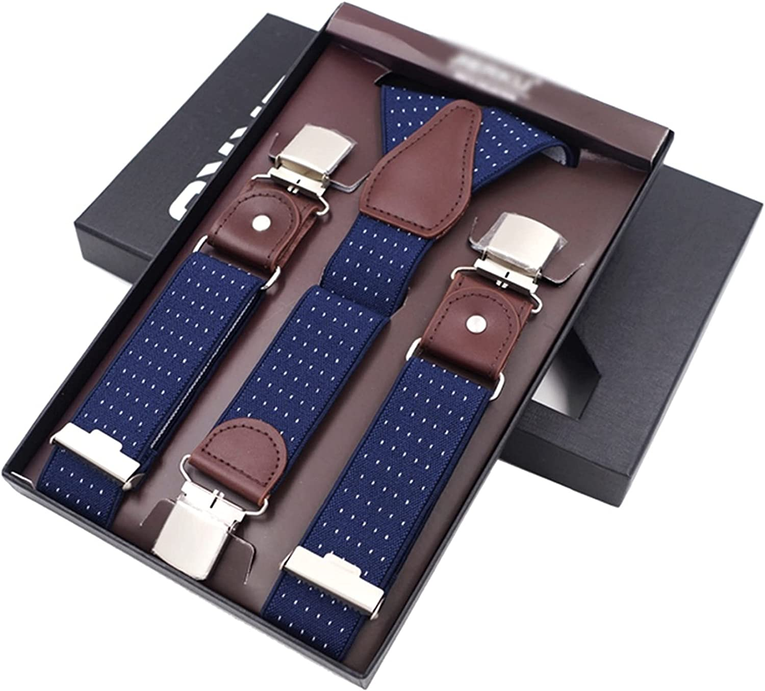 NJBYX Man's Suspenders 3 Clips Leather Braces Casual Suspensorios Trousers Strap 3.5120cm Gift for Dad (Color : B, Size : Adjustable)