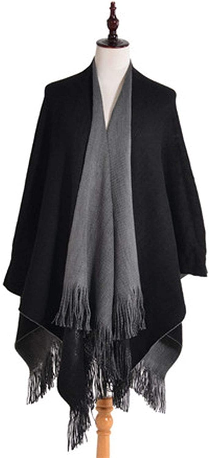 Cashmere Poncho Women Lengthen Thicken Tippet Solid Stole Two Side Warm Black Blanket Winter,Black