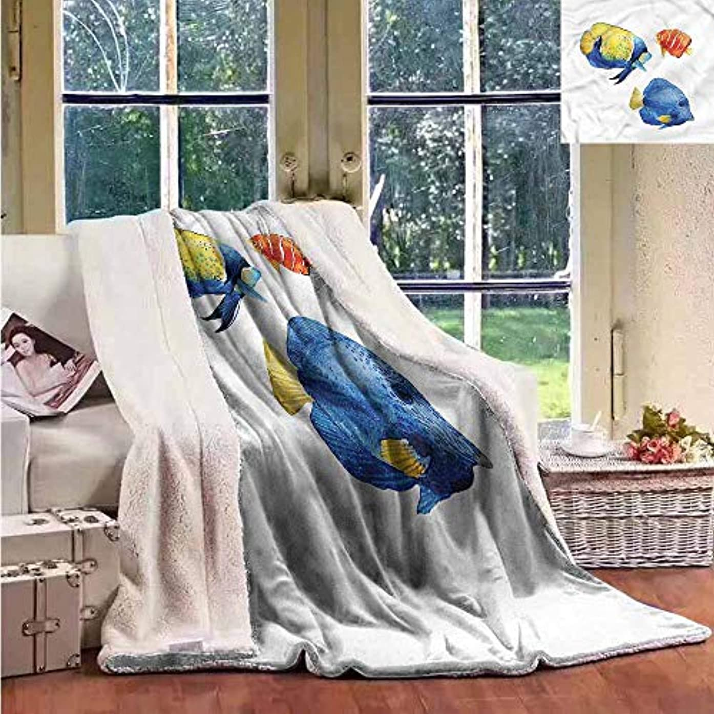 Sunnyhome Throw Blanket Fish Tropic Accents Aquarium Autumn and Winter Thick Blanket W59x78L