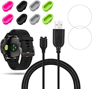 X1 for Garmin Fenix 5 Charger Charging Clip Sync Data Cable and 2Pcs Free HD Tempered Glass Screen Protector and 8Pcs Charger Port Protector dustproof Anti Dust Plugs Caps