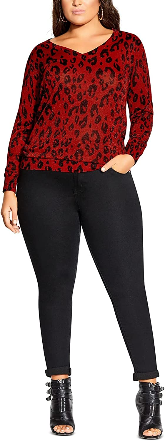 City Chic Womens Plus Animal Print Ribbed Pullover Sweater