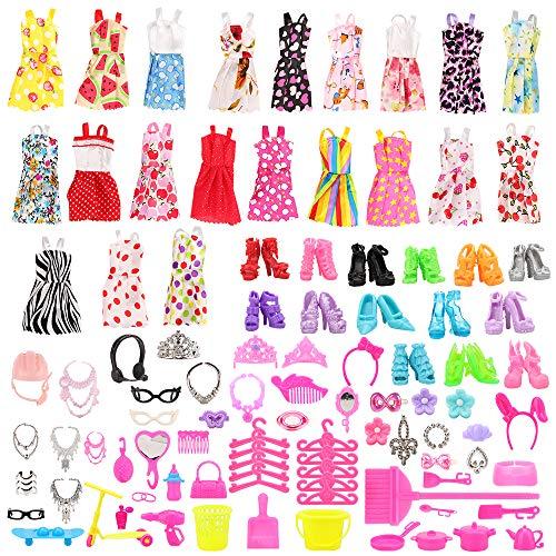 Miunana 120 PCS = 105 Accessories Zubehör Ständer Kleiderständes Schuhe + 15 Kleidung Kleid Dress für 11,5 Zoll Mädchen Puppen