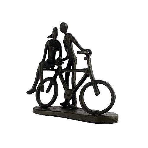 Elur couple with Bicycle Iron Figurine, Mocha, 14 cm