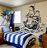 ilka parey wandtattoo-welt Wandtattoo Pirat Piratenschiff Schatztruhe Insel Schatzinsel Kinderzimmer M1314