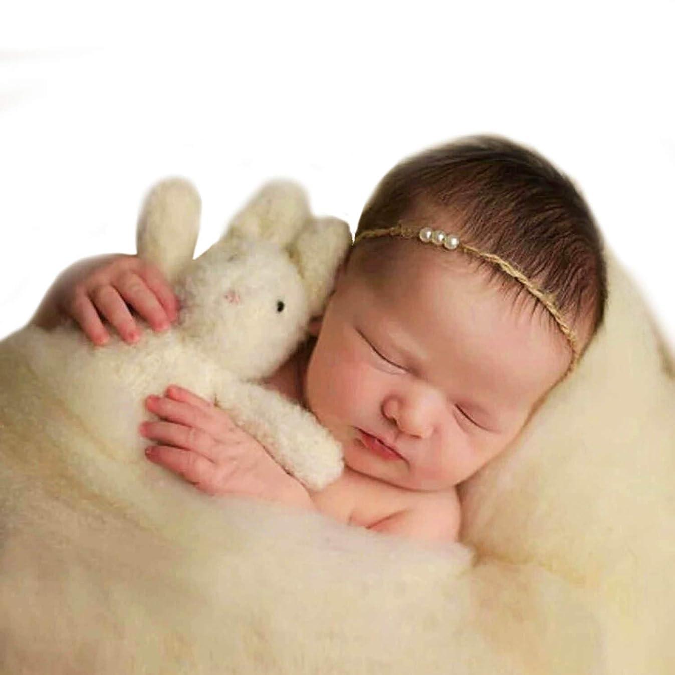 Sunmig Newborn Baby Wool Fluff Photo Props Merino Basket Stuffer Basket Filler Rug Photography Prop (Beige)