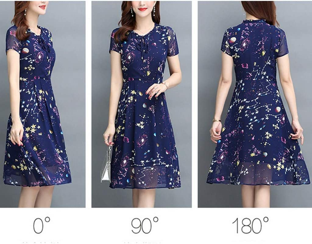 Dress Women's Cocktail Formal Swing Dress 50-Year-Old Middle-Aged Woman Short-Sleeved Knee Long Skirt Middle-Aged Women's 2 Colors 5 Sizes Sleeveless Slim Business Pencil (Color : A, Size : XXXXL)