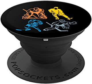 Vintage Retro Hockey Player Classic Ice Hockey for men women PopSockets Grip and Stand for Phones and Tablets