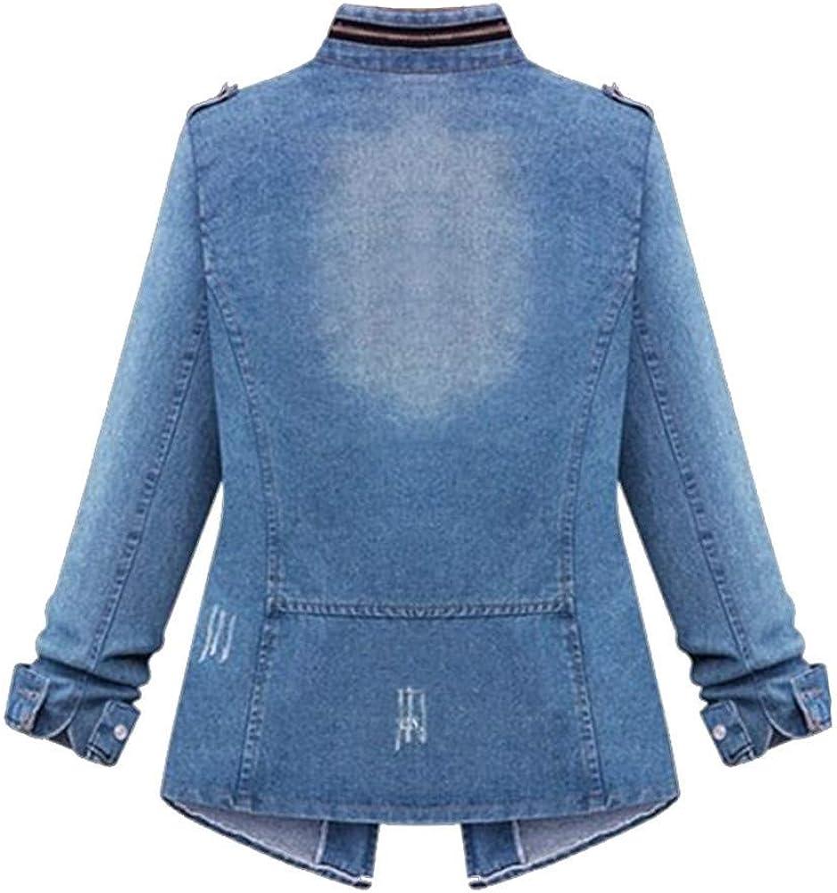Lulupi Jeansjacke Damen Kurze Jacke, Jeansblazer Frauen Blau Jeans Jacken Slim Fit Herbst Übergangsjacke Denim Mantel Mädchen Jeansjacke Bodycon Tops Outwear Gr.34-48 Blau