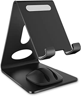 Phone Stand, WizGear Premium Phone Holder for iPhones, Android Smartphones & Mini Tablets –Sturdy Metal Phone Stand for Desk with Smart Cord Holder System