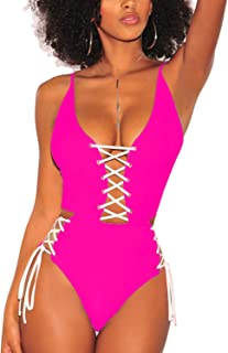 Almaree Women's Spaghetti Strap Criss Cross Lace Up One Piece Swimsuits Swimwear