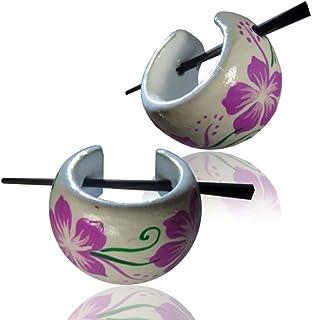 Chic-Net Hawaii orecchini fiore viola legno verde bianco orecchini a cerchio pin pin Hoops legno pin corno dipinto a mano ...