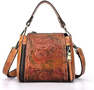 Small Vintage Embossed Floral Leather Tote Bag Handbag for Women Ladies Casual Satchel Messenger Crossbody Shoulder Purses Handbags Totes