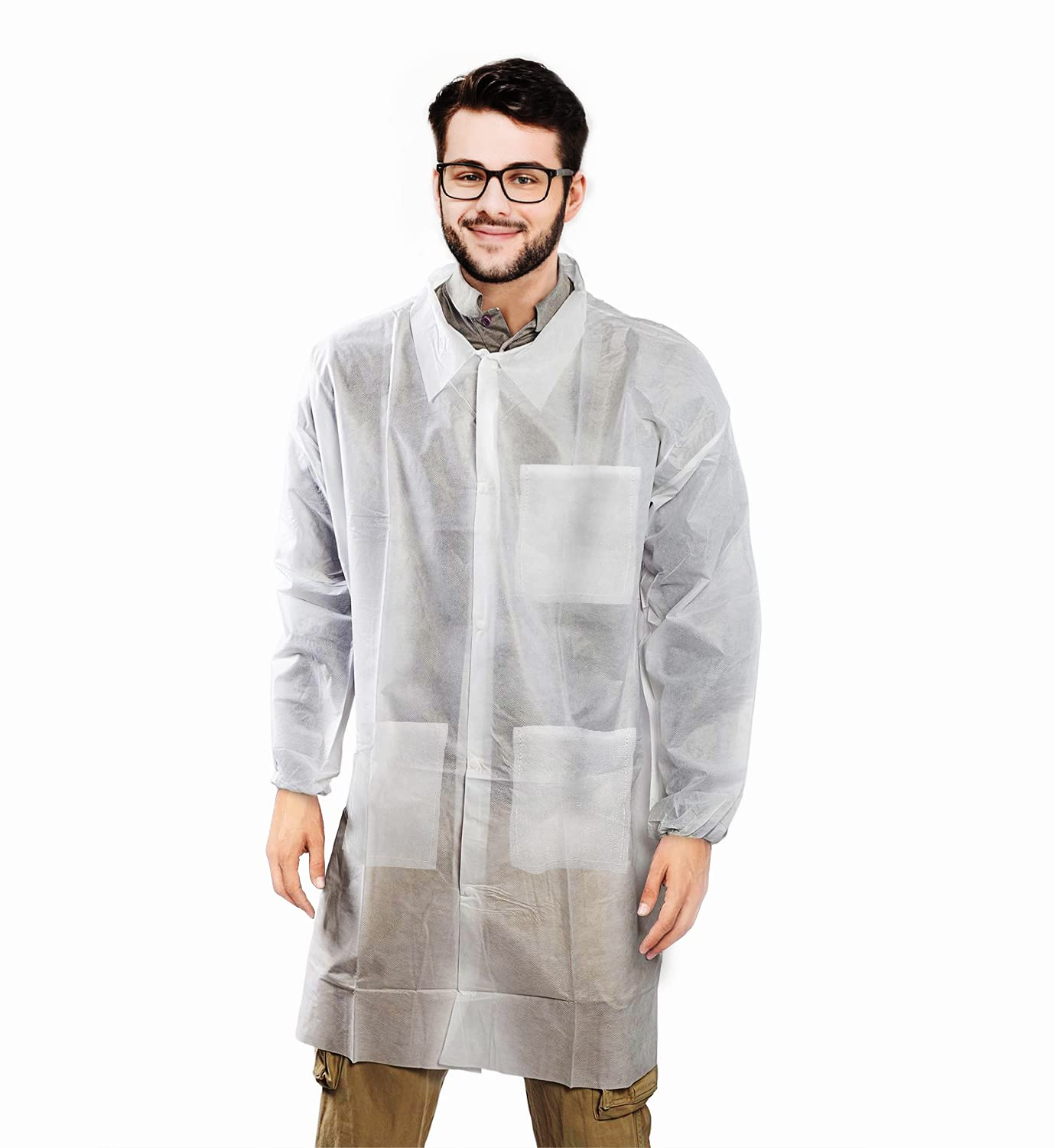 AMZ Disposable Lab Coats Sale Special Price Max 51% OFF XX-Large Pack Adult White 10 Polypro of