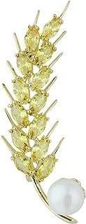 Mecool Broche broche broche broche de arroce, perlas de concha, broches de síntesis brillante, circonitas cúbicas, broche ...