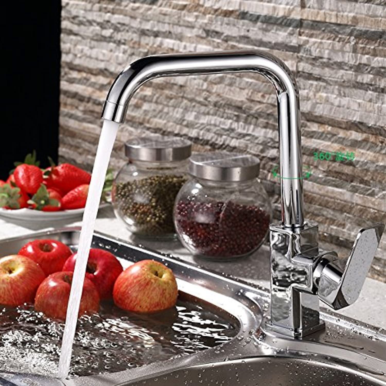 Küche mit herausziehbarer Dual-Spülbrause,Kaltes und Heies Wasser Vorhanden Messingt Robinet de cuisine en cuivre robinet lavabo, robinet évier chaud et froid robinet de bassin eau chaude et froide