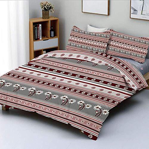 Juego de funda nórdica, varios motivos florales de primavera sobre fondo de rayas Ilustración geométrica Juego de cama decorativo de 3 piezas con 2 fundas de almohada, gris rosa burdeos, el mejor rega